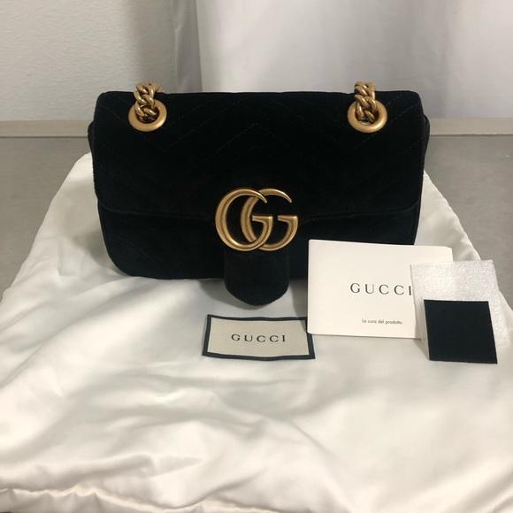 92d4e8fef0e8 Gucci Bags | Authentic Gg Marmont Velvet Mini Black Bag | Poshmark